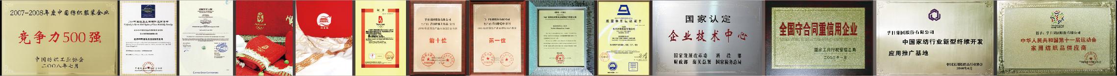 孚日家纺荣誉证书